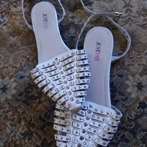 JustFab cream studded sandals